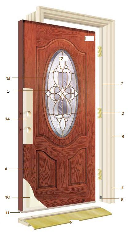 Fiberglass door unit with transom and sidelights